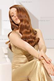 Red head in glamorous gold dress (CS_101145)